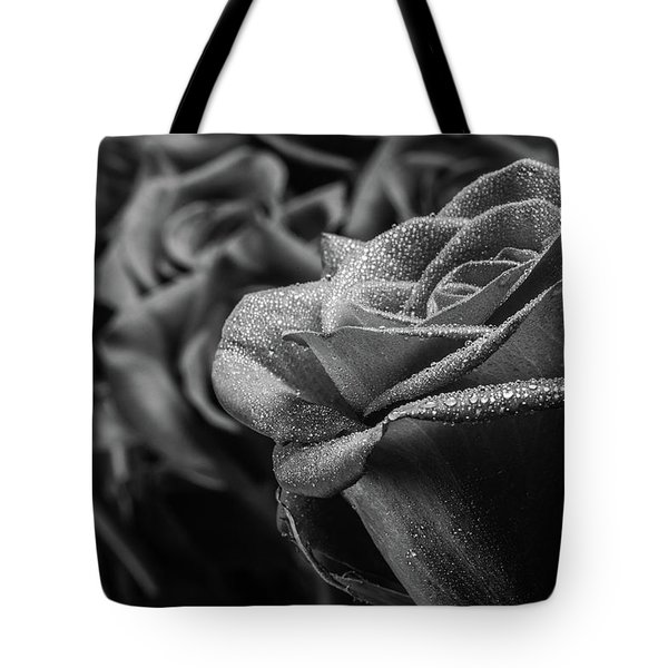 Roses In Black And White Tote Bag