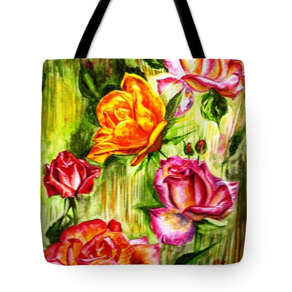 Tote Bag featuring the painting Roses In The Valley  by Harsh Malik