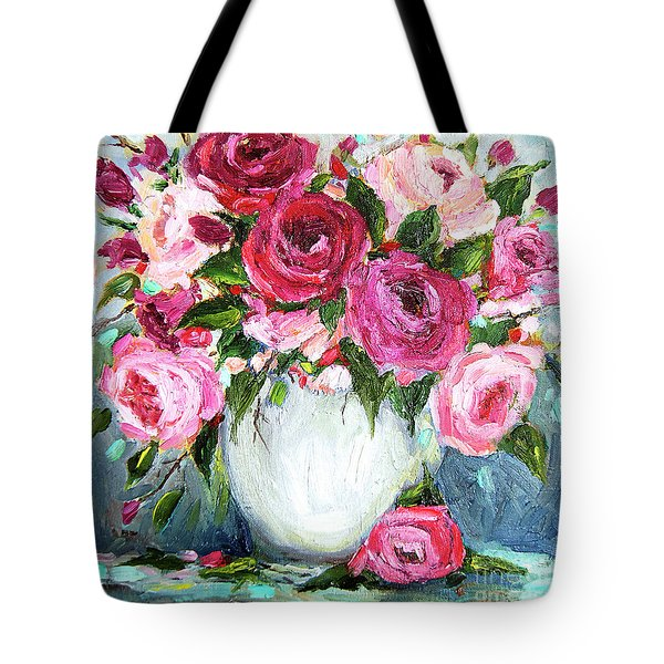 Tote Bag featuring the painting Roses In Vase by Jennifer Beaudet