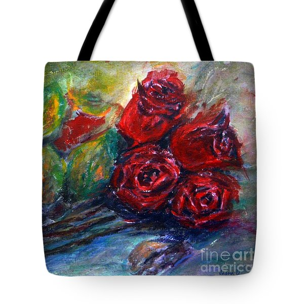 Tote Bag featuring the painting Roses by Jasna Dragun