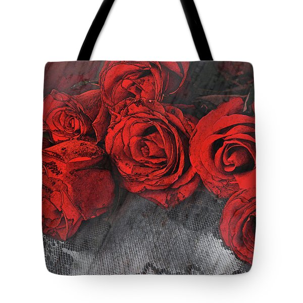 Tote Bag featuring the photograph Roses On Lace by Bonnie Willis