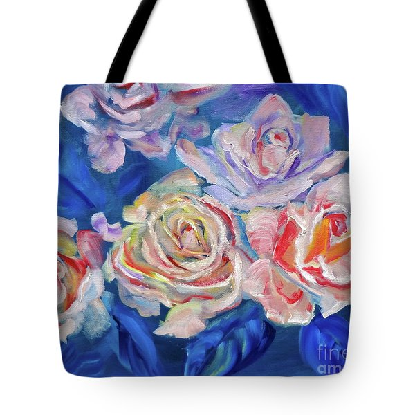 Roses, Roses On Blue Tote Bag