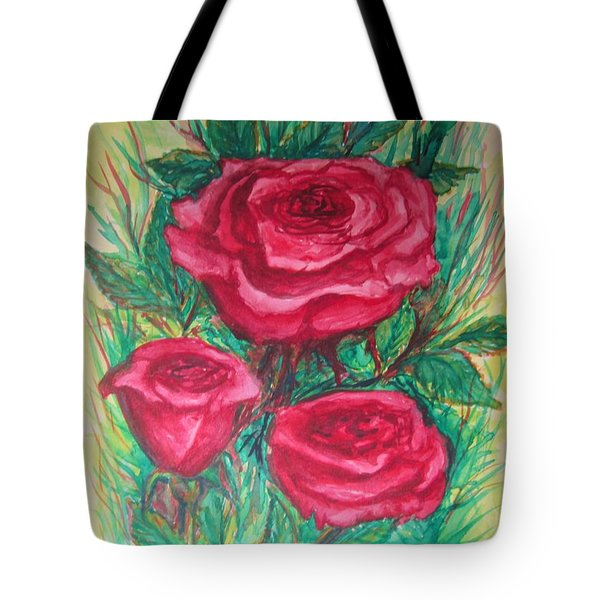 Roses Three Tote Bag by Cathy Long