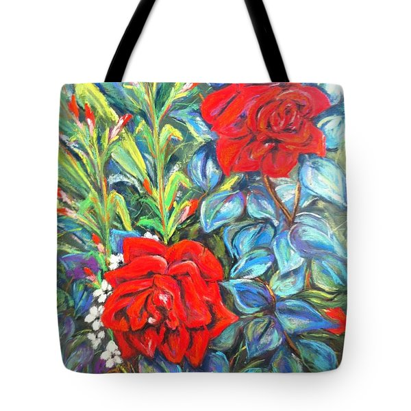 Roses With Baby Breath Tote Bag