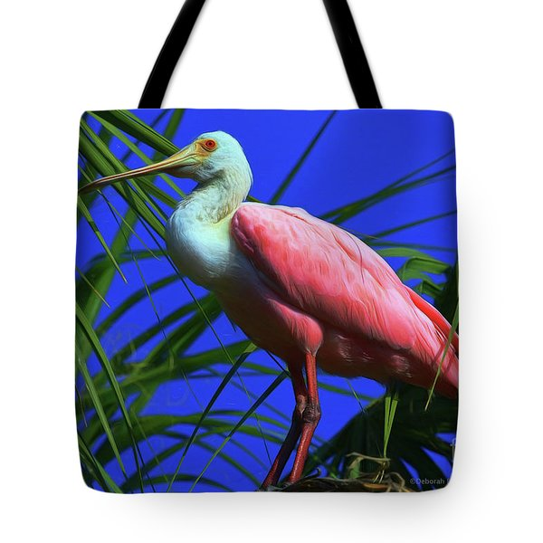 Tote Bag featuring the painting Rosetta Spoonbill Alligator Farm by Deborah Benoit