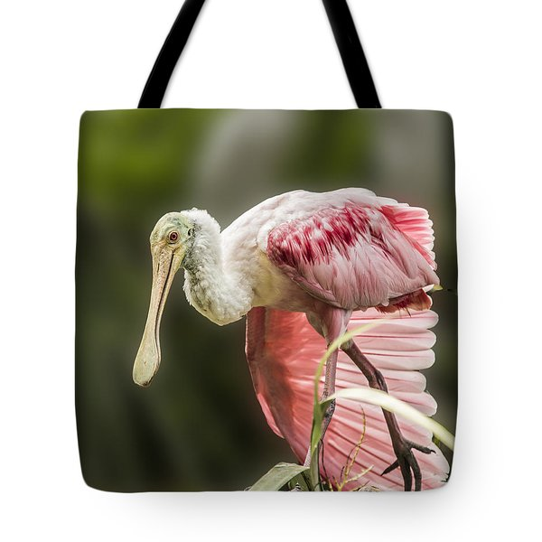 Tote Bag featuring the photograph Rosette Spoonbill Wings by Paula Porterfield-Izzo
