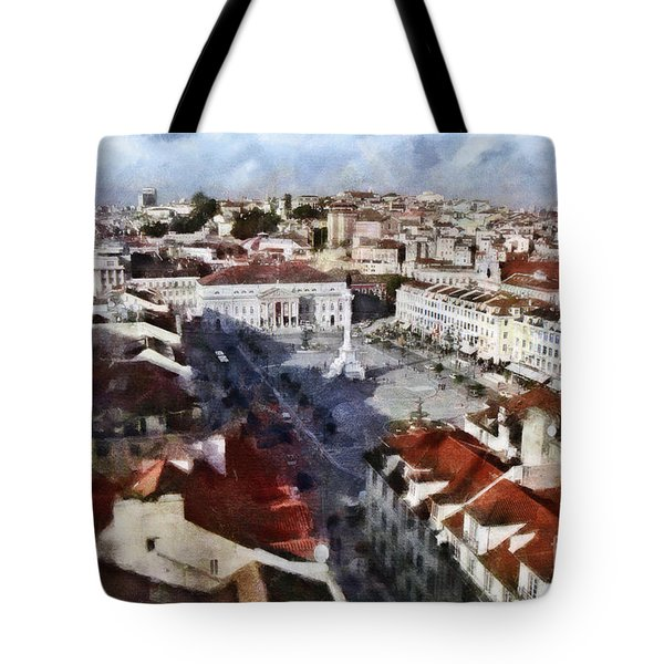 Tote Bag featuring the photograph Rossio Square by Dariusz Gudowicz