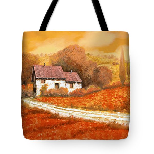 Tote Bag featuring the painting Rosso Papavero by Guido Borelli