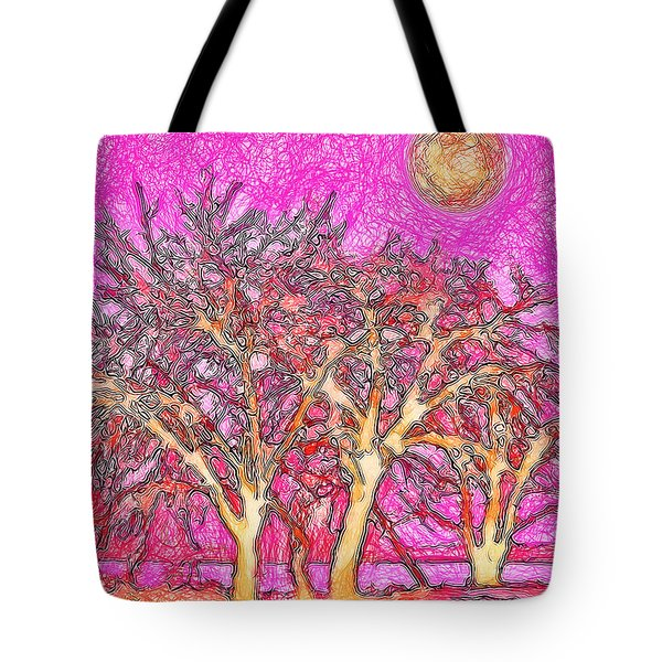 Tote Bag featuring the digital art Rosy Hued Trees - Boulder County Colorado by Joel Bruce Wallach