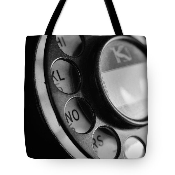 Tote Bag featuring the photograph Rotary Dial In Black And White by Mark Miller