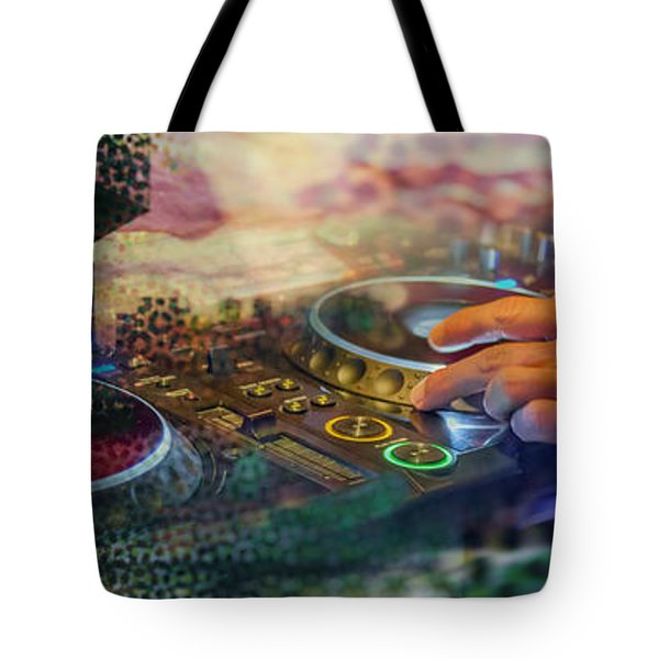 Tote Bag featuring the digital art Rotterdam And Dj Music by Ariadna De Raadt