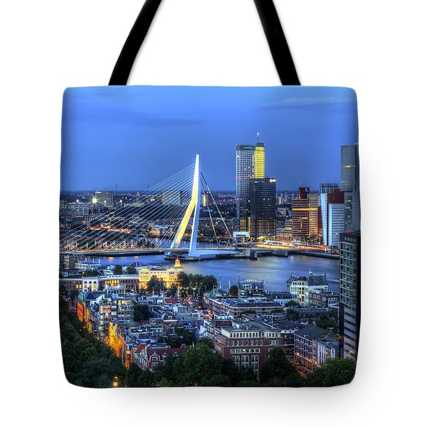 Rotterdam Skyline With Erasmus Bridge Tote Bag
