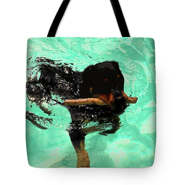 Rottweiler Dog Swimming Tote Bag by Sally Weigand