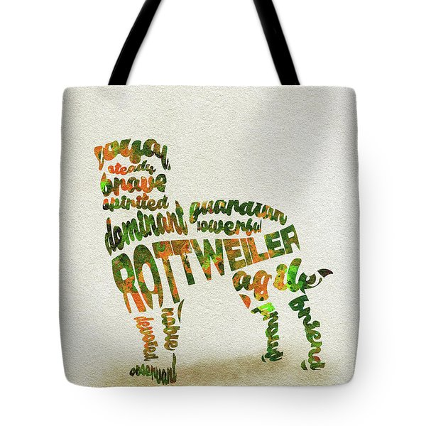 Tote Bag featuring the painting Rottweiler Dog Watercolor Painting / Typographic Art by Inspirowl Design
