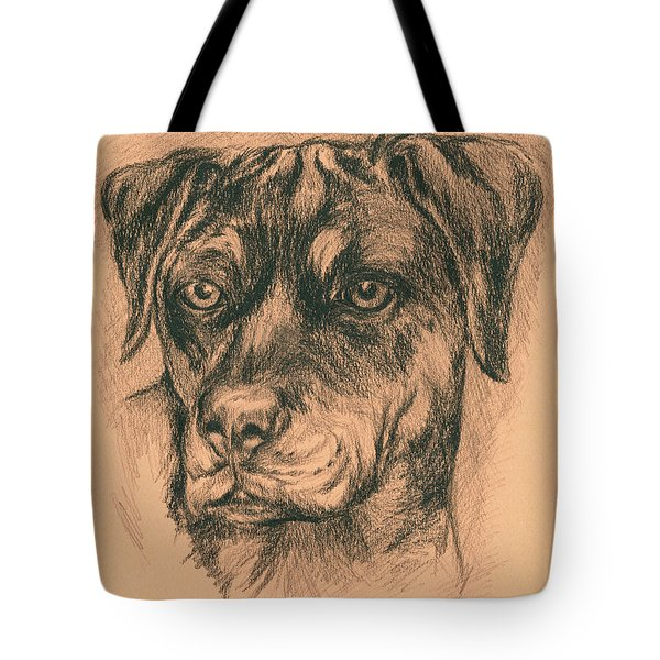 Rottweiler Mix In Charcoal Tote Bag