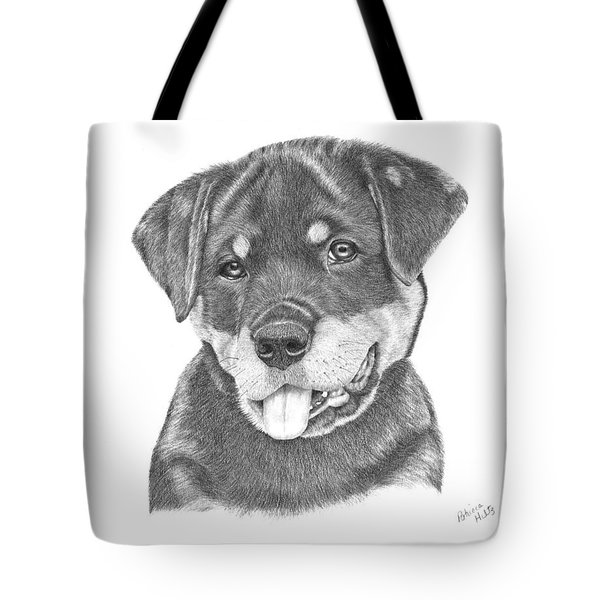 Tote Bag featuring the drawing Rottweiler Puppy- Chloe by Patricia Hiltz