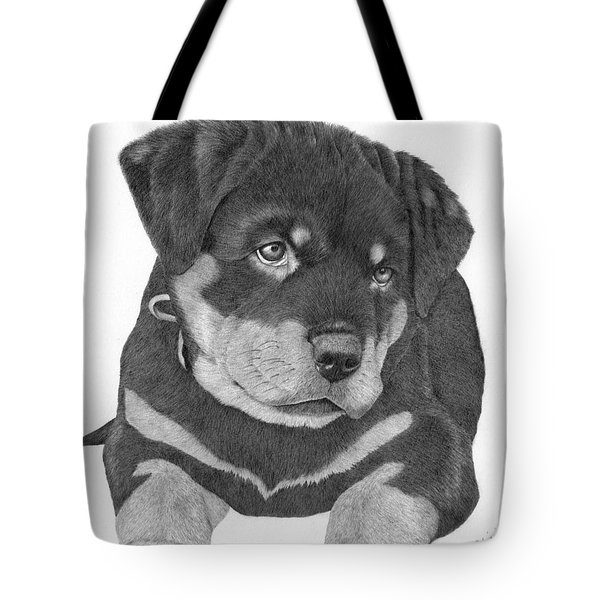 Tote Bag featuring the drawing Rottweiler Puppy by Patricia Hiltz
