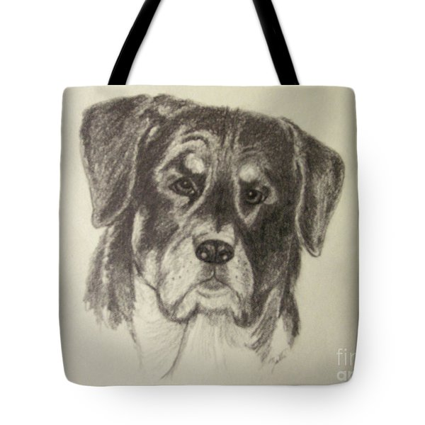 Tote Bag featuring the drawing Rottweiler by Suzette Kallen