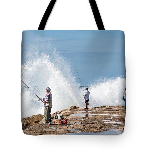 Rough Sea Fishing Tote Bag