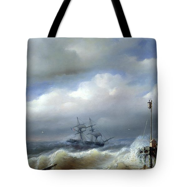 Rough Sea In Stormy Weather Tote Bag by Paul Jean Clays