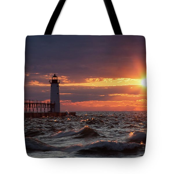 Tote Bag featuring the photograph Rough Water Sunset by Fran Riley
