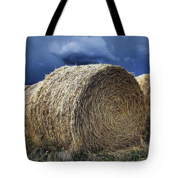 Tote Bag featuring the photograph Round Bales by Brad Allen Fine Art