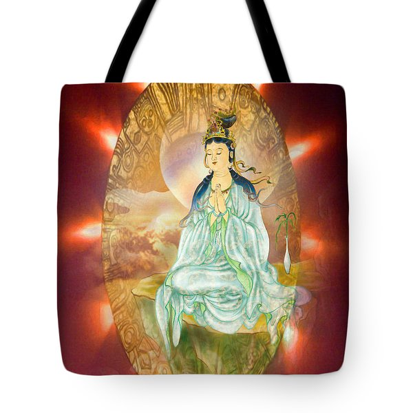 Tote Bag featuring the photograph Round Halo Kuan Yin by Lanjee Chee