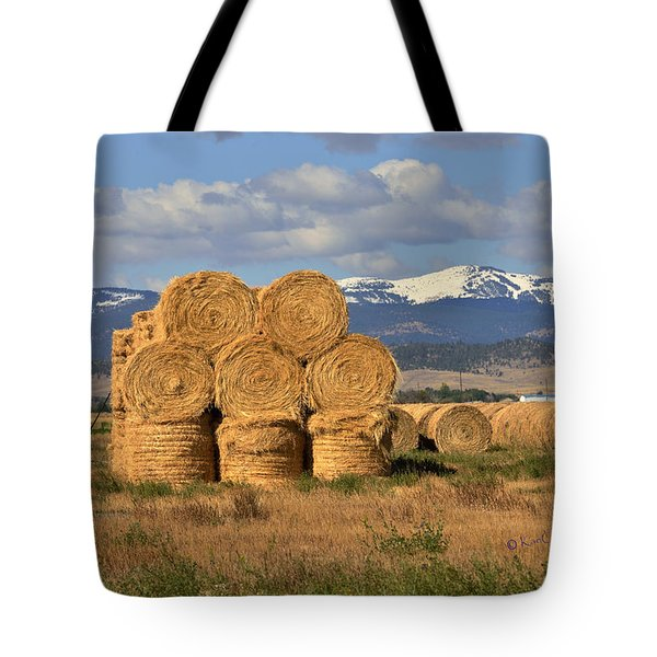 Round Hay Bales And Mountain Tote Bag
