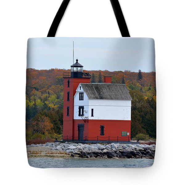 Round Island Lighthouse In October Tote Bag