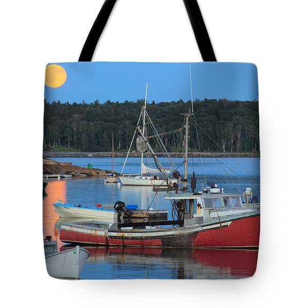 Moonrise And Boats Round Pond Harbor Maine Tote Bag