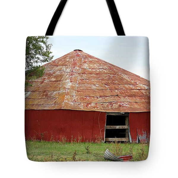 Tote Bag featuring the photograph Round Red Barn by Sheila Brown