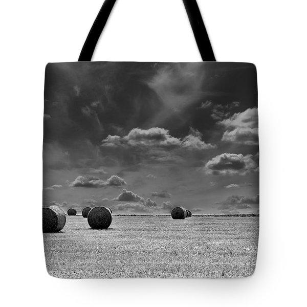 Round Straw Bales Landscape Tote Bag