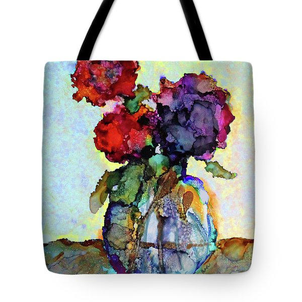 Round Table With Flowers Tote Bag by Priti Lathia