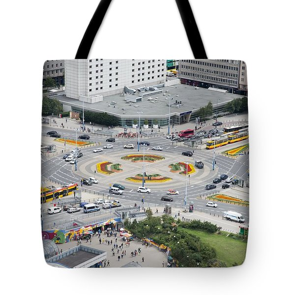 Tote Bag featuring the photograph Roundabout In Warsaw by Chevy Fleet