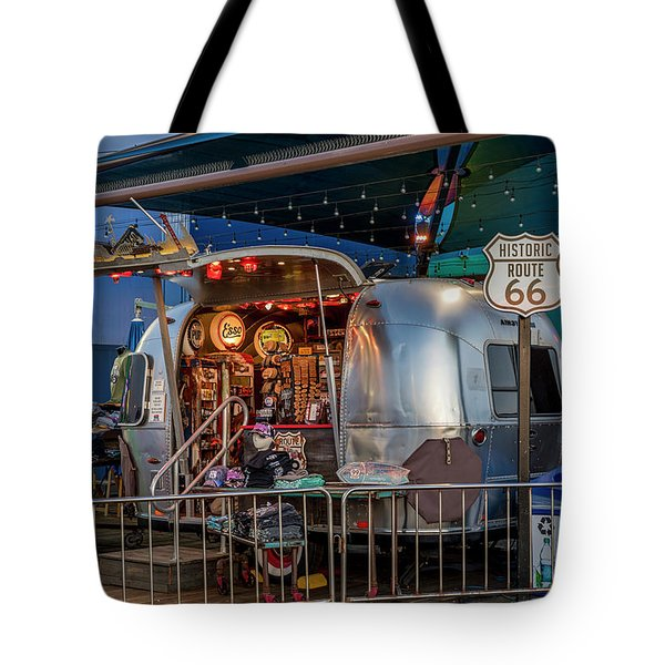 Route 66 And Airstream On Tha Pier Tote Bag