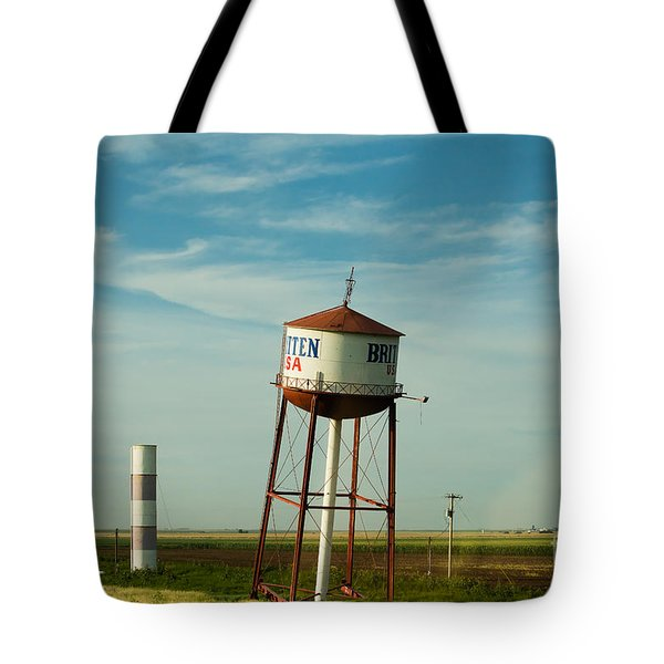 Tote Bag featuring the photograph Route 66 And The Leaning Water Tower Of Britten by MaryJane Armstrong