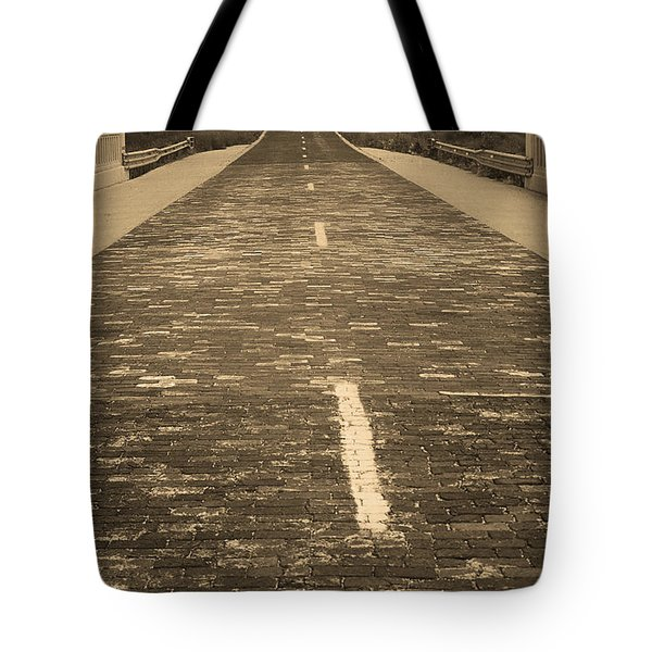 Tote Bag featuring the photograph Route 66 - Brick Highway 2 Sepia by Frank Romeo