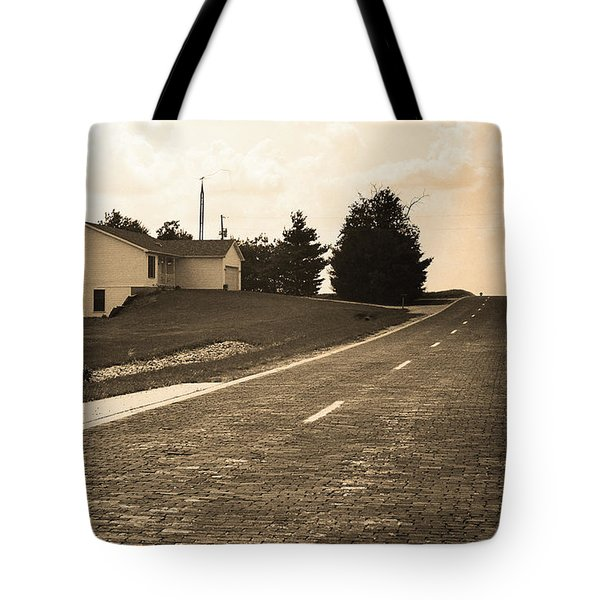 Tote Bag featuring the photograph Route 66 - Brick Highway Sepia by Frank Romeo