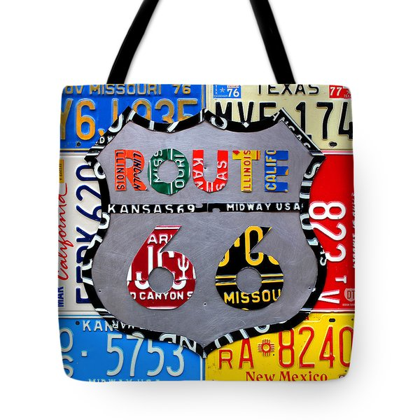 Route 66 Highway Road Sign License Plate Art Tote Bag
