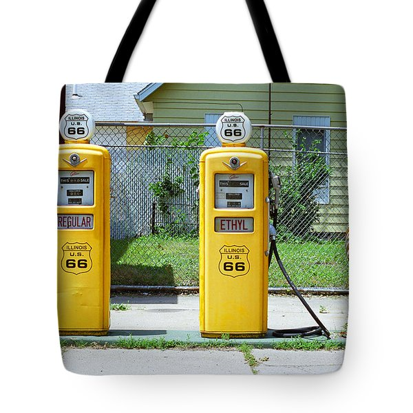 Route 66 - Illinois Gas Pumps Tote Bag by Frank Romeo