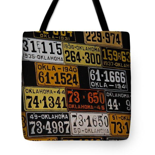 Route 66 Oklahoma Car Tags Tote Bag by Susanne Van Hulst