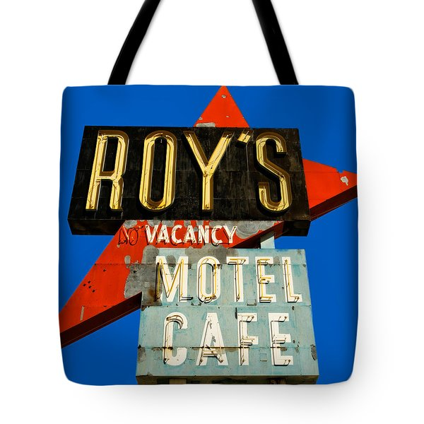 Route 66 Roy's Motel Cafe Sign Tote Bag