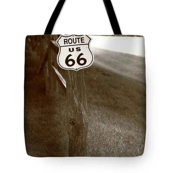 Tote Bag featuring the photograph Route 66 Shield And Fence Sepia Post by Frank Romeo
