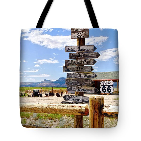 Route 66 Sign Post Tote Bag