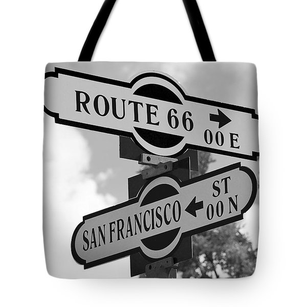 Route 66 Street Sign Black And White Tote Bag by Phyllis Denton