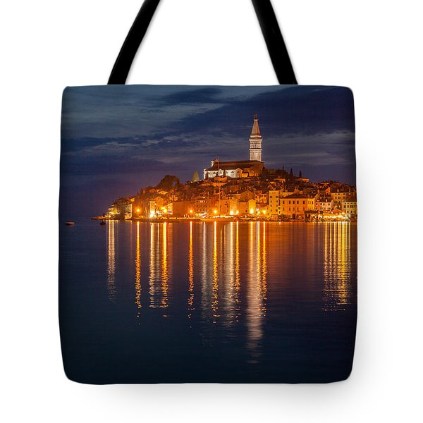 Tote Bag featuring the photograph Rovinj By Night by Davorin Mance