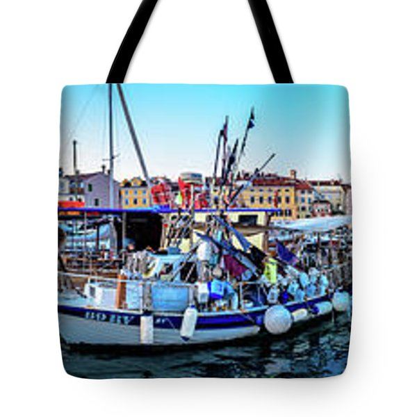 Rovinj Harbor And Boats Panorama Tote Bag