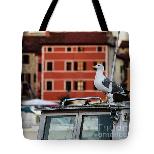Rovinj Harbor Seagull - Rovinj, Istria, Croatia Tote Bag