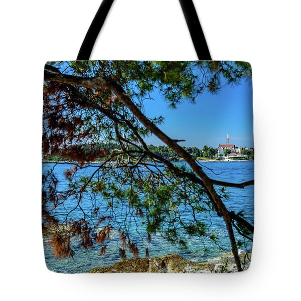 Rovinj Old Town Accross The Adriatic Through The Trees Tote Bag