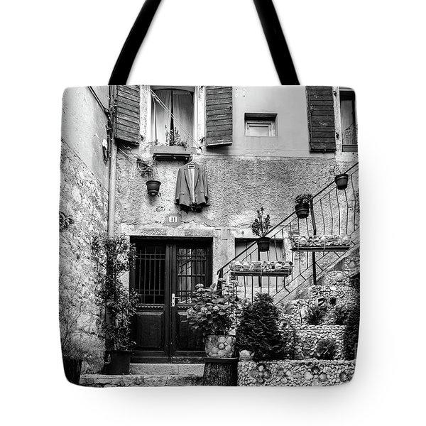 Rovinj Old Town Courtyard In Black And White, Rovinj Croatia Tote Bag